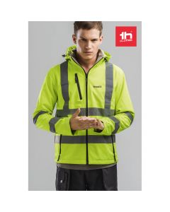 THC ZAGREB WORK - High-visibility softshell jacket for men, with removable hood